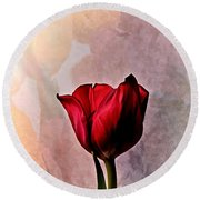 Deep Red Tulip On Pale Tulip Background Round Beach Towel