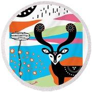 Deer Garden Round Beach Towel