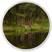 Deer In The Mist Round Beach Towel