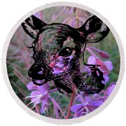 Deer On Flower Round Beach Towel