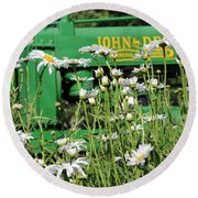 Round Beach Towel featuring the photograph Deere 1 by Lynn Sprowl