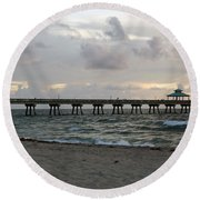 Round Beach Towel featuring the photograph Deerfield Beach International Fishing Pier Sunrise by Rafael Salazar