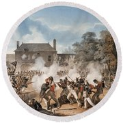 Defence Of The Chateau De Hougoumont Round Beach Towel