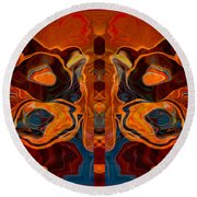Deities Abstract Digital Artwork Round Beach Towel