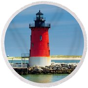 Delaware Breakwater Lighthouse Round Beach Towel