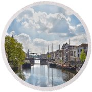 Round Beach Towel featuring the photograph Delfshaven Rotterdam by Frans Blok
