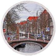 Delft Canal Round Beach Towel