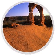 Delicate Arch Round Beach Towel by Bob Christopher