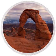 Delicate Arch Dusk Round Beach Towel