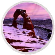 Delicate Arch In Winter, Arches Round Beach Towel