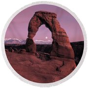 Delicate Arch Round Beach Towel by Leland D Howard