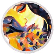 Round Beach Towel featuring the painting Delight by Helena Wierzbicki