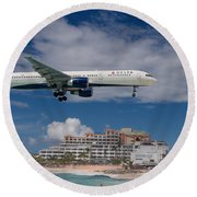 Delta Air Lines Landing At St. Maarten Round Beach Towel by David Gleeson