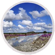 Round Beach Towel featuring the photograph Delta Junction Summer by Cathy Mahnke