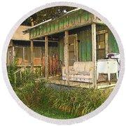 Delta Sharecropper Cabin - All The Conveniences Round Beach Towel