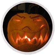 Demented Mister Ullman Pumpkin 2 Round Beach Towel