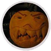 Demented Mister Ullman Pumpkin 3 Round Beach Towel