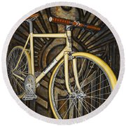 Round Beach Towel featuring the painting Demon Path Racer Bicycle by Mark Howard Jones