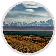 Round Beach Towel featuring the photograph Denali Colors by Jeremy Rhoades