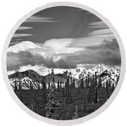 Denali In Clouds Round Beach Towel