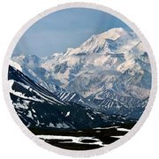 Round Beach Towel featuring the photograph Denali National Park Panorama by John Haldane
