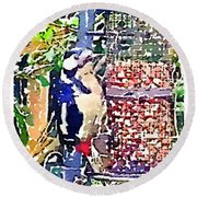 Dendrocopos Major 'great Spotted Woodpecker' Round Beach Towel