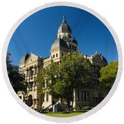 Denton County Courthouse Round Beach Towel by Allen Sheffield