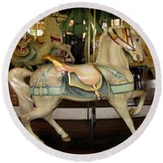 Round Beach Towel featuring the photograph Dentzel Menagerie Carousel Horse by Rose Santuci-Sofranko