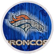 Denver Broncos Barn Door Round Beach Towel