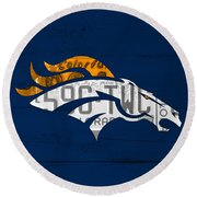 Denver Broncos Football Team Retro Logo Colorado License Plate Art Round Beach Towel by Design Turnpike