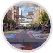 Denver Chalk Art Festival At Larimer Square 2014 Round Beach Towel