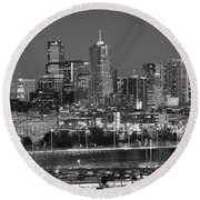 Round Beach Towel featuring the photograph Denver Skyline At Dusk Black And White Bw Evening Panorama Broncos Colorado  by Jon Holiday