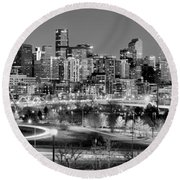 Round Beach Towel featuring the photograph Denver Skyline At Dusk Evening Bw Black And White Evening Panorama Broncos Colorado  by Jon Holiday