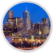 Round Beach Towel featuring the photograph Denver Skyline At Dusk Evening Color Evening Extra Wide Panorama Broncos by Jon Holiday