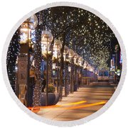 Denver's 16th Street Mall At Christmas Round Beach Towel