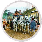 Round Beach Towel featuring the photograph Departing Cranford by Paul Gulliver