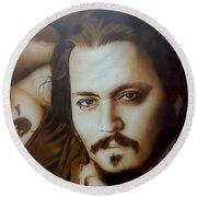 Johnny Depp - ' Depp II ' Round Beach Towel by Christian Chapman Art