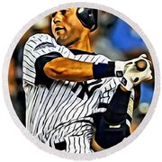 Derek Jeter In Action Round Beach Towel by Florian Rodarte