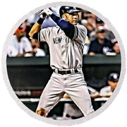 Derek Jeter Painting Round Beach Towel