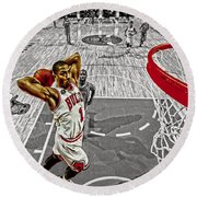 Derrick Rose Took Flight Round Beach Towel by Brian Reaves