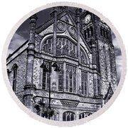 Round Beach Towel featuring the photograph Derry Guildhall by Nina Ficur Feenan