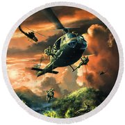 Descent Into The A Shau Valley Round Beach Towel by Randy Green