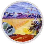 Desert And Mountains Round Beach Towel