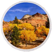 Desert Autumn Round Beach Towel by Greg Norrell