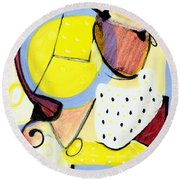 Round Beach Towel featuring the painting Desert Bloom by Stephen Lucas