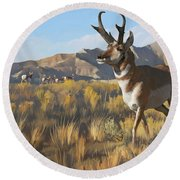 Desert Buck Round Beach Towel