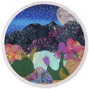 Round Beach Towel featuring the tapestry - textile Desert Dreaming by Ellen Levinson