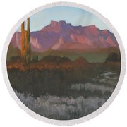 Desert Sunset Glow Round Beach Towel