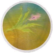 Round Beach Towel featuring the painting Desert Flower by Mike Breau