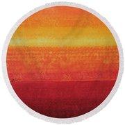 Desert Horizon Original Painting Round Beach Towel
